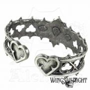 ALCHEMY GOTHIC  Elizabethan Crystal Heart Bangle | Gothic Jewellery | Wings in the Night